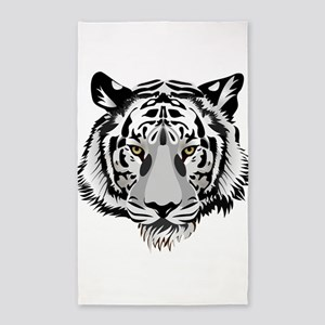 White Tiger Face 3'x5' Area Rug