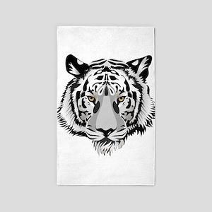 White Tiger Face 3'x5' Area Rug