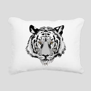 White Tiger Face Rectangular Canvas Pillow