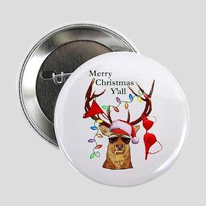 Smoking Redneck Christmas Button