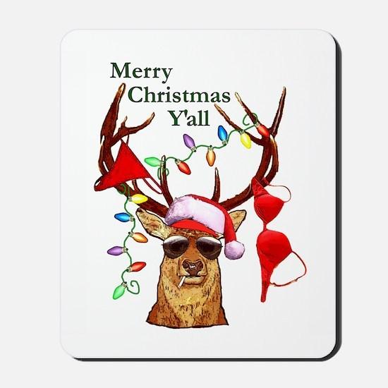 Smoking Redneck Christmas Mousepad