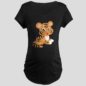 Cute Cartoon Baby Tiger Maternity T-Shirt