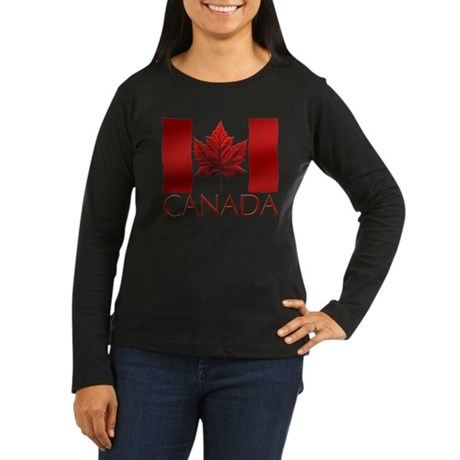 Canadian Flag Womens Long Sleeve Dark T-Shirt Art