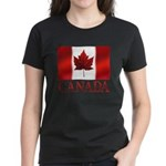 Canadian Flag Art Womens Dark T-Shirt Souvenir