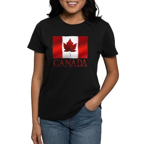 Canadian Flag Art Womens Dark T-Shirt Souvenir