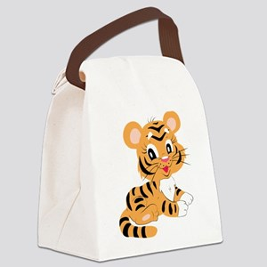 Cute Cartoon Baby Tiger Canvas Lunch Bag