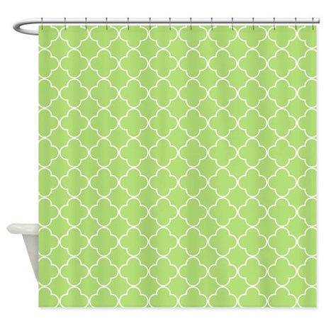 Lime Green White Quatrefoil Shower Curtain