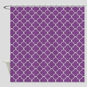Plum Purple White Quatrefoil Shower Curtain