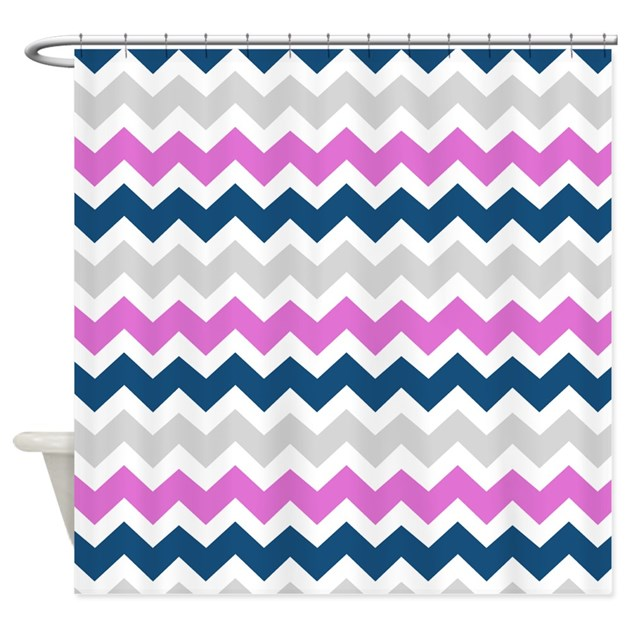 Blue Pink Grey Chevron Stripes Shower Curtain By