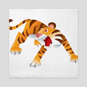 Angry Cartoon Tiger Queen Duvet