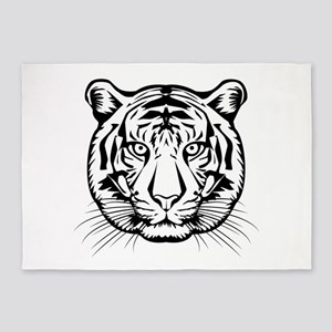 Black and White Tiger 5'x7'Area Rug