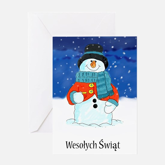 Wesolych Swiat Polish Snowman Season's Greetings W