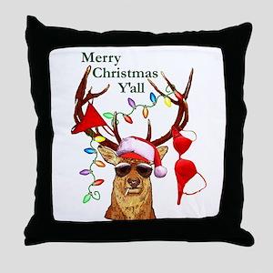 Smoking Redneck Christmas Throw Pillow