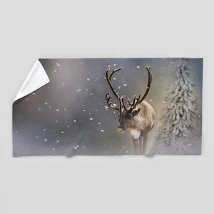 Santa Claus Reindeer in the snow Beach Towel