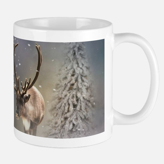 Santa Claus Reindeer in the snow Mugs