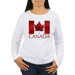 Canadian Flag Art Women's Long Sleeve T-Shirt