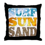 Surf, Sun, Sand Throw Pillow