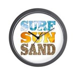 Surf, Sun, Sand Wall Clock