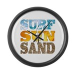Surf, Sun, Sand Large Wall Clock