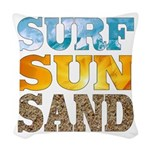 Surf, Sun, Sand Woven Throw Pillow