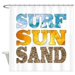Surf, Sun, Sand Shower Curtain