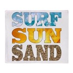 Surf, Sun, Sand Throw Blanket