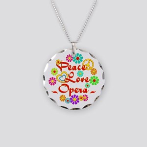 Peace Love Opera Necklace Circle Charm