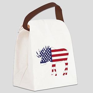 US Flag Moose Canvas Lunch Bag
