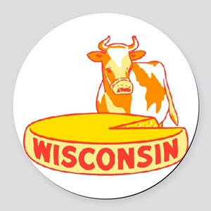 Vintage Wisconsin Cheese Round Car Magnet