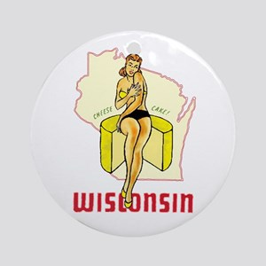 Vintage Wisconsin Pinup Ornament (Round)