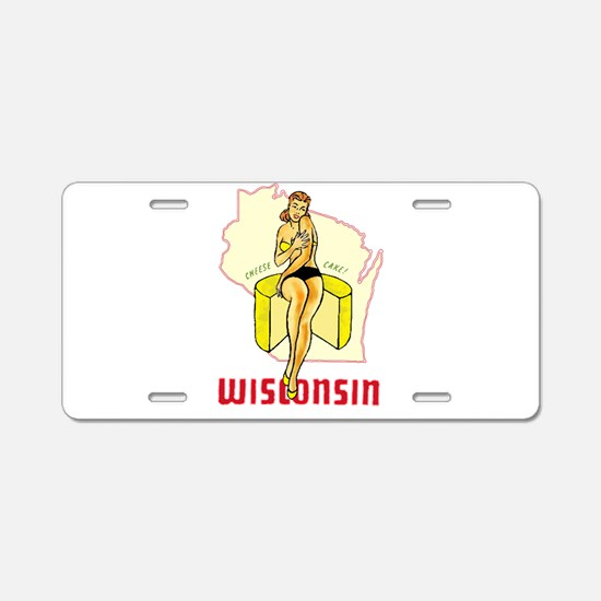 Vintage Wisconsin Pinup Aluminum License Plate