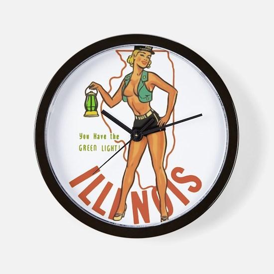 Illinois Pinup Wall Clock