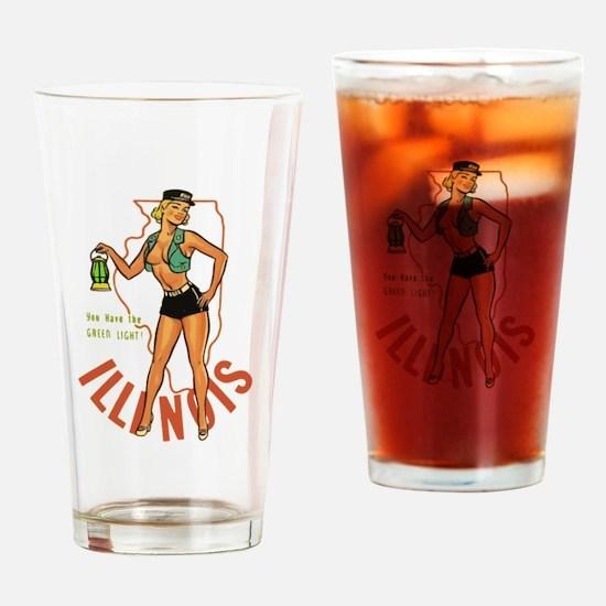 Illinois Pinup Drinking Glass