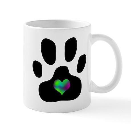 Rainbow Heart Paw Print - Mug