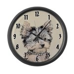 Yorkshire Terrier Puppy Large Wall Clock
