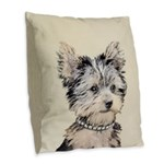Yorkshire Terrier Puppy Burlap Throw Pillow