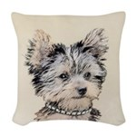 Yorkshire Terrier Puppy Woven Throw Pillow