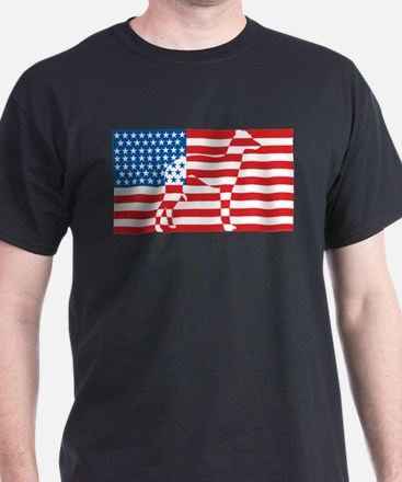 USA Flag American Italian Greyhound T-Shirt