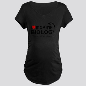 I Love Marine Biology Maternity Dark T-Shirt