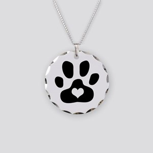 Heart Paw Print - Necklace Circle Charm