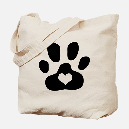 Heart Paw Print - Tote Bag