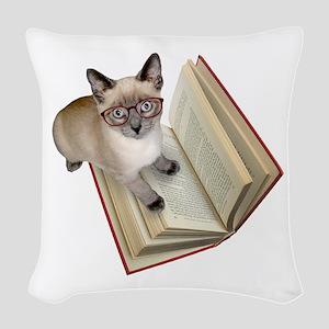Kitten Book Woven Throw Pillow