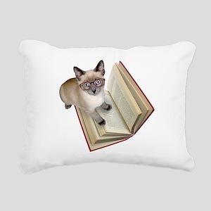 Kitten Book Rectangular Canvas Pillow