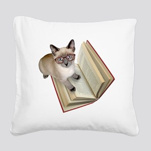 Kitten Book Square Canvas Pillow