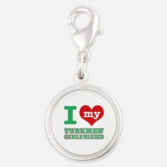 I love my Turkmen Girlfriend Silver Round Charm