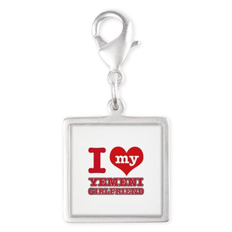 I love my Yemeni Girlfriend Silver Square Charm