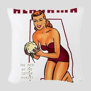 Vintage Alabama Pinup Woven Throw Pillow