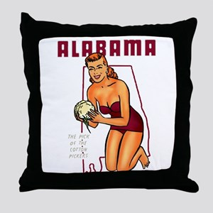 Vintage Alabama Pinup Throw Pillow