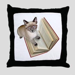 Kitten Book Throw Pillow