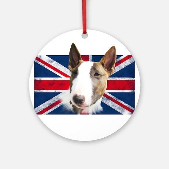 Bull Terrier UK grunge flag Ornament (Round)